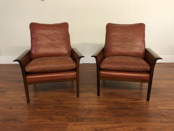Vatne Mobler Rosewood Leather Chairs Pair – $2595