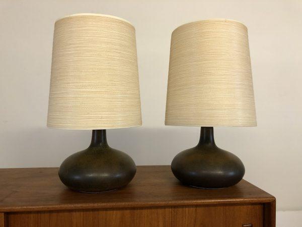 SOLD – Bostlund Mid Century Stonewear Lamp Pair