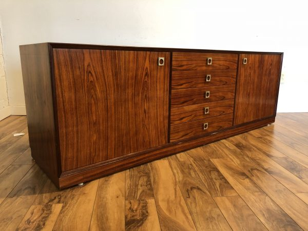 SOLD – Danish Modern Rosewood Sideboard Brass Pulls
