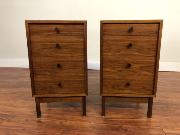 SOLD – Walnut Tall Nightstands Pair
