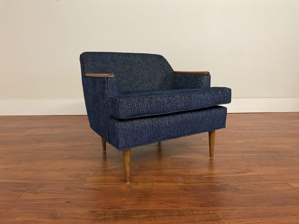 SOLD – Mid Century Lounge Chair with Wood Trim