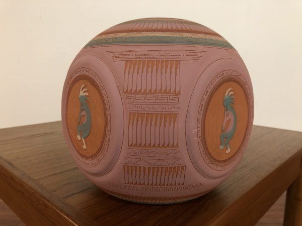 SOLD – Tom Watchman Navajo Carved Ball Vase