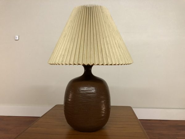Mid Century Ceramic Lamp with Pleated Shade – $350