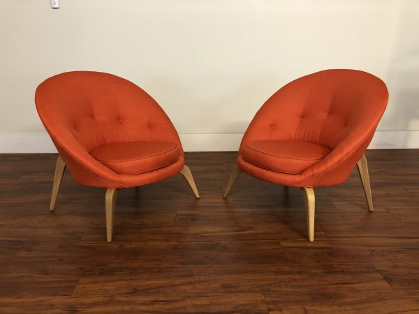 SOLD – Mid Century Vintage Scoops Chairs Pair