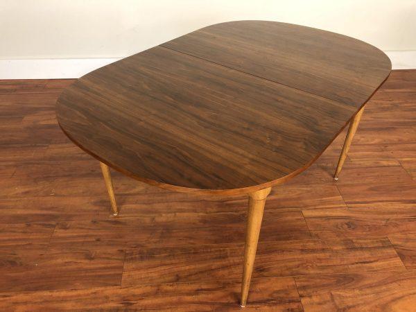 Mid Century Walnut Dining Table 3 Leaves – $650