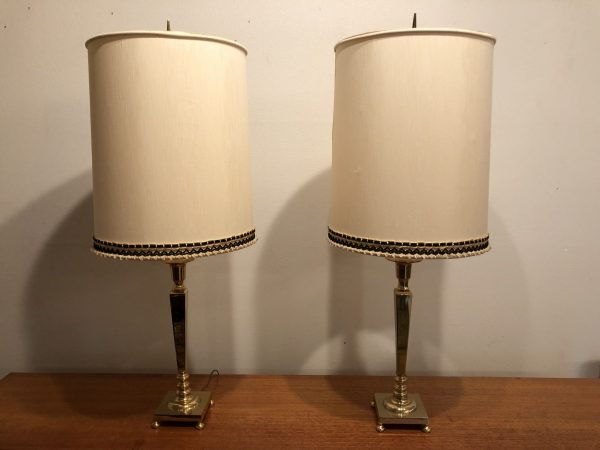 Pair of Ethan Allen Tall Vintage Lamps – $250