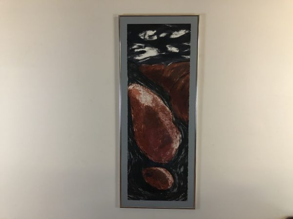 Mid Century Abstract Framed Art Piece – $95