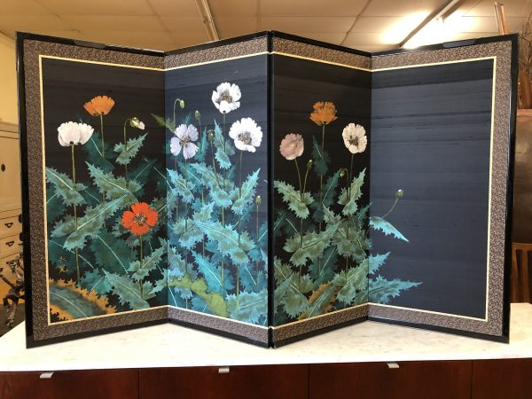 Japanese 4 Panel Painted Flowers Screen – $375