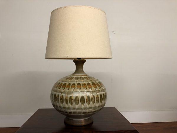 Vintage Bulbous Earth Tones Ceramic Table Lamp – $375