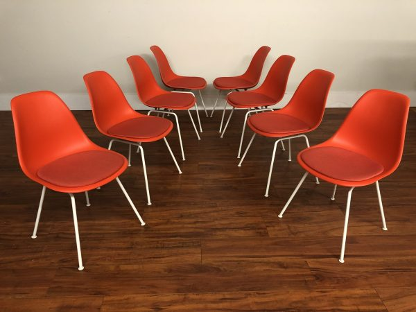 Eames Plastic Chairs Upholstered Seats, Set of 8 – $1800