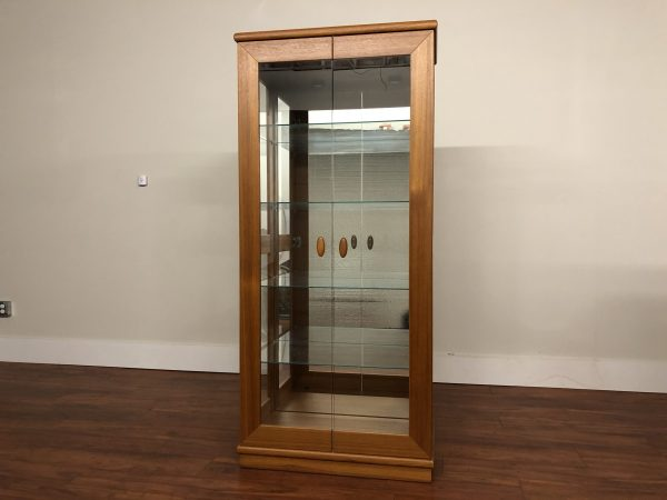 Teak and Glass Danish Lighted Display Cabinet – $850