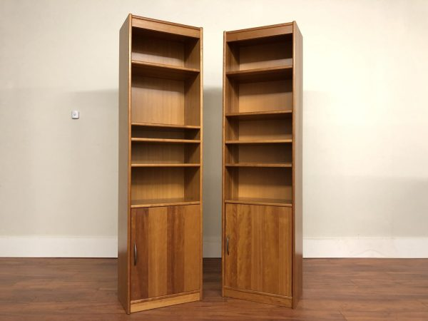 SOLD – Danish Cherry Narrow Bookcases / Cabinets