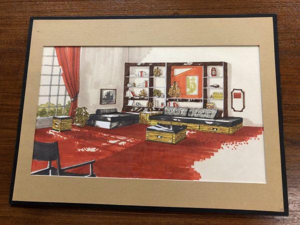 MCM Vintage Interior Design Sketches, Set of 7 – $395