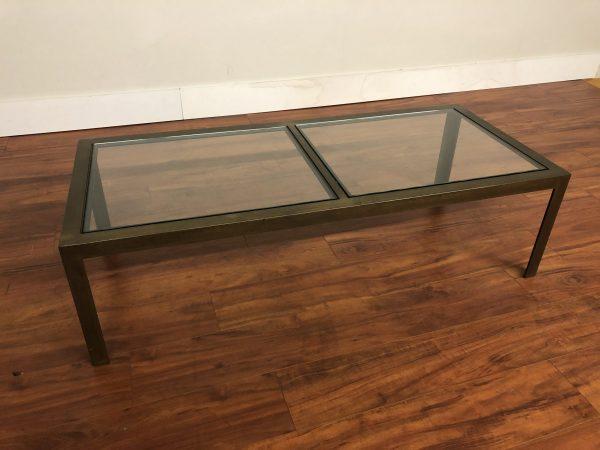 Vintage Metal & Glass Coffee Table – $495