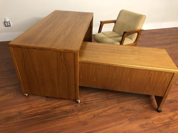 Teak Desk With Return and Office Chair – $650
