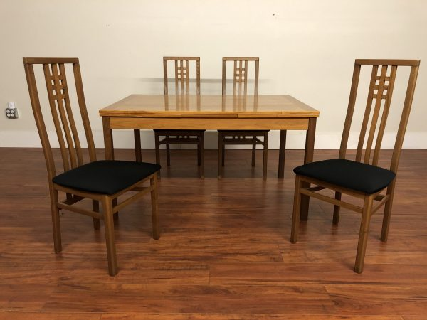 Teak Draw Leaf Dining Table & 4 Chairs – $650