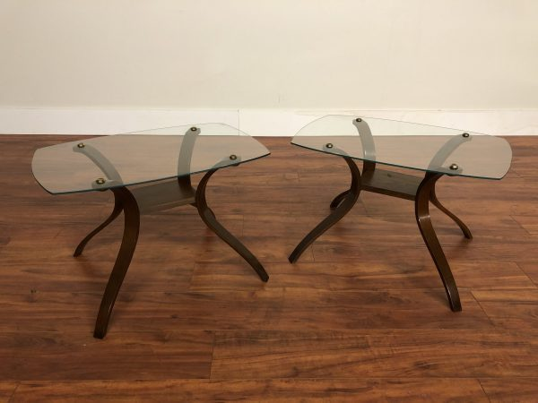 Pair Bentwood & Glass Side Tables – $350