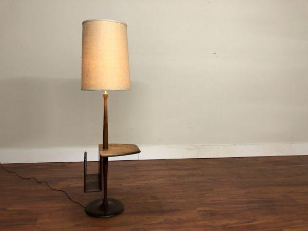 Laurel Walnut Floor Lamp Table Magazine Rack – $1250