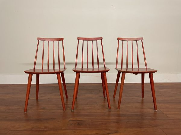Farstrup Red Spindle Chairs, 2 Available – $175 Each