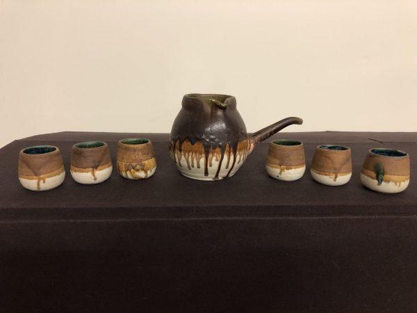 Vintage Stoneware Pitcher & Cups – $195
