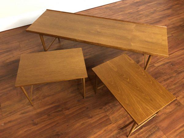 Marius Teak Nesting Coffee & Side Tables – $1695