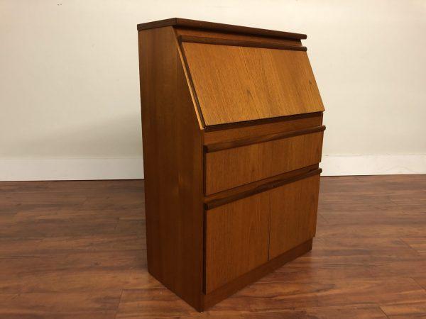 Morris of Glasgow Vintage Teak Secretary Desk – $695