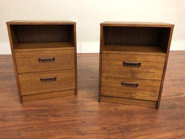 Pair of Danish Modern Vintage Teak Nightstands – $595