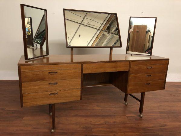 Vintage Teak Vanity with 3 Adjustable Mirrors – $1495