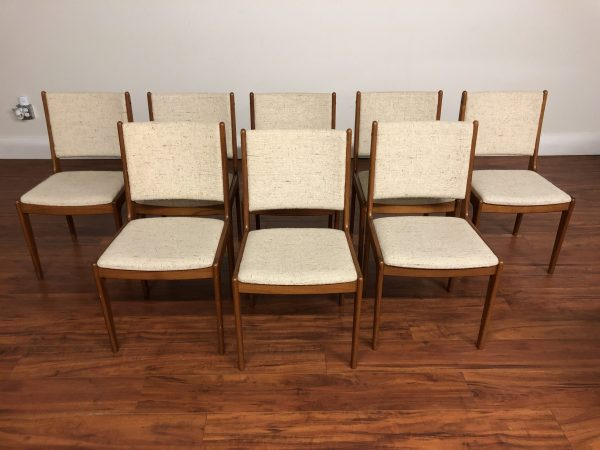 SOLD – Set of 8 Upholstered Teak Dining Chairs – $1495