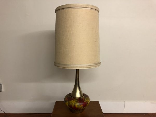 SOLD – Mid Century Brass and Ceramic Lamp