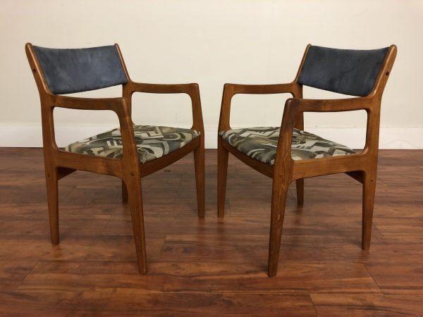 Pair of Teak Arm Dining Chairs – $295