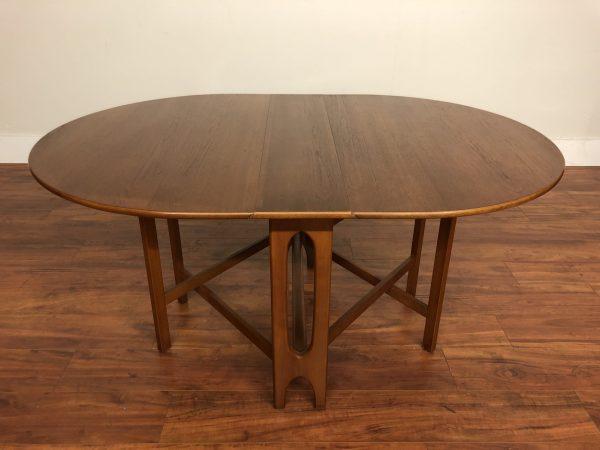 Vintage Teak Folding Oval Dining Table – $995