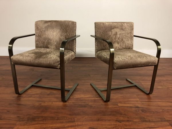 Pair of Neutral Cantilevered Chairs – $795