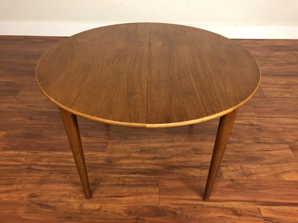 Round Teak Butterfly Leaf Dining Table – $750