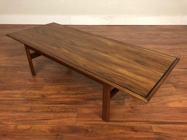 Vintage Rectangular Walnut and Teak Coffee Table – $795