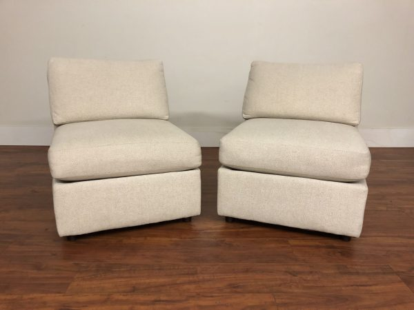Pair of Beige Slipper Chairs – $495