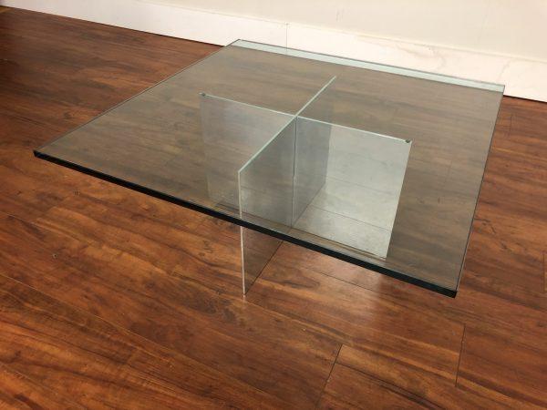 Vintage Glass & Metal Coffee Table – $395