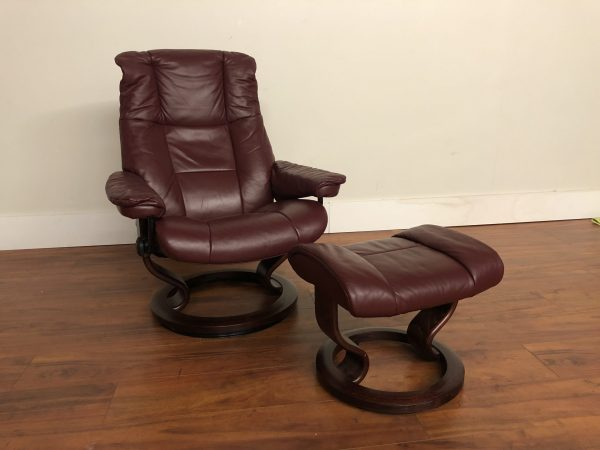 Ekornes Stressless Leather Recliner & Ottoman – $750